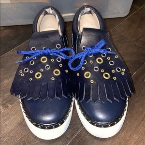 Burberry blue leather sneakers
